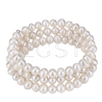 Multi strand White round pearl adjustable bracelet