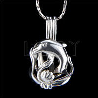Ten pieces Dolphin Shape Silver Toned Copper Cage Pendant
