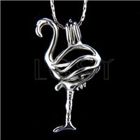 Ten pieces Red-Crowned Crane Shape Silver Toned Copper Cage Pendant