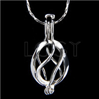 Ten pieces Twisted Shape Silver Toned Copper Cage Pendant