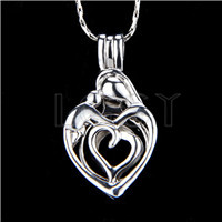 Ten pieces Heart Shape Silver Toned Copper Cage Pendant