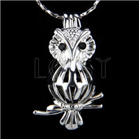 Ten pieces owl Shape Silver Toned Copper Cage Pendant