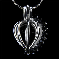 Ten pieces Heart with black zircons Shape Silver Toned Copper Cage Pendant