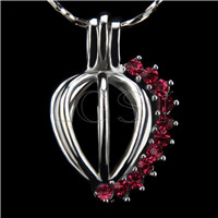 Ten pieces Heart with red zircons Shape Silver Toned Copper Cage Pendant