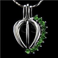 Ten pieces Heart with green zircons Shape Silver Toned Copper Cage Pendant