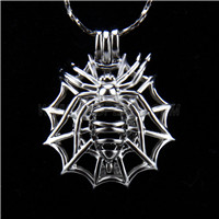 Newest design Silver plated Spider Cage Pendant 10pcs