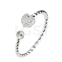 Latest Wholesale Silver plated adjustable heart ring fitting