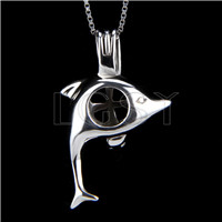 925 Sterling Silver Dolphin Shape Cage Pendant
