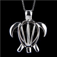 925 Sterling Silver Turtle Shape Cage Pendant