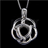 925 Sterling Silver Rose Shape Cage Pendant
