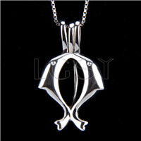 925 Sterling Silver Double Dolphin Shape Cage Pendant