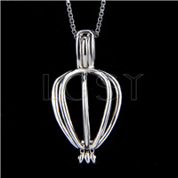 925 Sterling Silver Heart Shape Cage Pendant