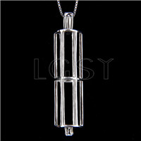 925 Sterling Silver Cylindrical Shape Cage Pendant