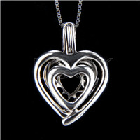 925 Sterling Silver Double Heart Shape Cage Pendant