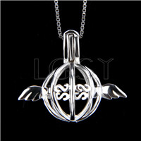 925 Sterling Silver Ball with Wings Shape Cage Pendant