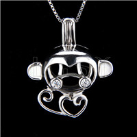 925 Sterling Silver Monkey Shape Cage Pendant