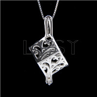 925 Sterling Silver Cube Shape Cage Pendant