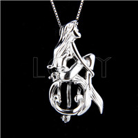 925 Sterling Silver Mermaid Shape Cage Pendant