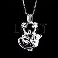 925 Sterling Silver Bear Shape Cage Pendant