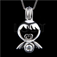 925 Sterling Silver Little angle Shape Cage Pendant