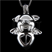 Fashion 925 Sterling Silver Flying pig Cage Pendant