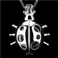 Fashion 925 Sterling Silver Ladybug Cage Pendant