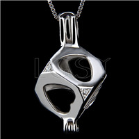 Fashion 925 Sterling Silver Cubic Cage Pendant