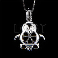 Fashion 925 Sterling Silver Lovely Penguin Cage Pendant
