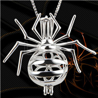 Halloween theme 925 Sterling Silver Spider Cage Pendant