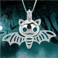 Halloween theme 925 Sterling Silver Batman Cage Pendant