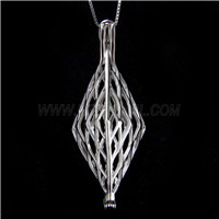 Fashion design 925 Sterling Silver Long Rhombus Cage Pendant