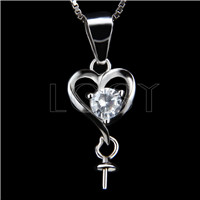 Latest 925 Sterling Silver heart Shape Pendant mounting