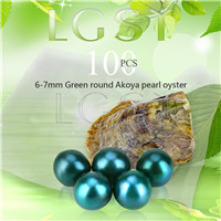 wholesale 6-7mm saltwater round Akoya green pearl oyster 100pcs