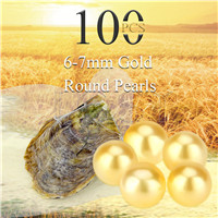 wholesale 6-7mm saltwater round Akoya gold pearl oyster 100pcs