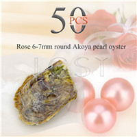 Shinning wholesale 6-7mm saltwater round Akoya Rose pearl oyster 50pcs