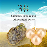 Fashion wholesale 6-7mm saltwater round Akoya Salmon pearl oyster 30pcs