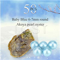 Shinning wholesale 6-7mm saltwater round Akoya Baby blue pearl oyster 50pcs