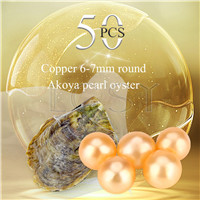 Latest wholesale 6-7mm saltwater round Akoya Copper pearl oyster 50pcs