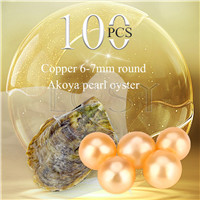 Latest wholesale 6-7mm saltwater round Akoya Copper pearl oyster 100pcs