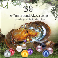 6-7mm saltwater round Akoya mixed colors twin pearls oyster 30pcs
