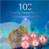 Latest 6-7mm Coral saltwater round Akoya pearl oyster 100pcs