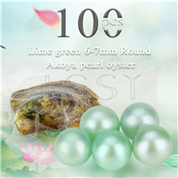 Latest 6-7mm Lime green saltwater round Akoya pearl oyster 100pcs