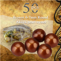 Latest Bronze 6-7mm saltwater round Akoya pearl oyster 50pcs